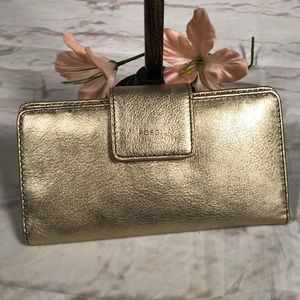 Fossil wallet.  Shiny gold!